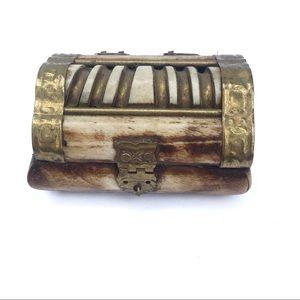 Vintage Bone brass trinket ring jewelry box boho